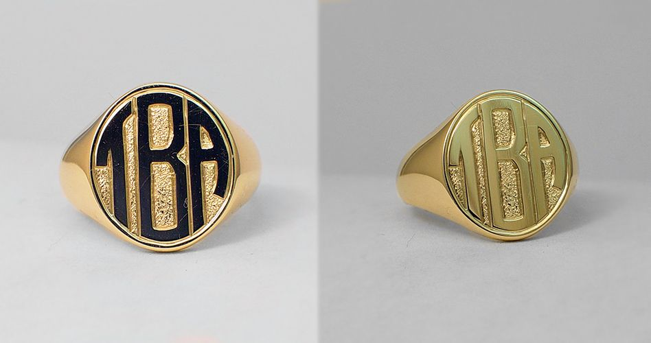 Block style monogram. Hand engraving on the gold signet ring.