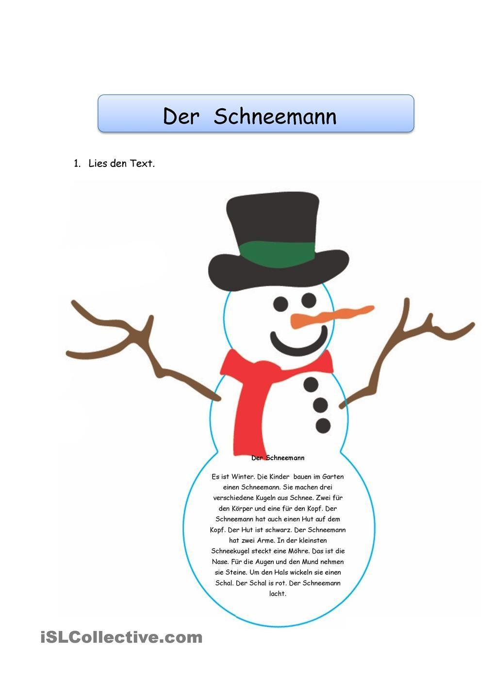 Der Schneemann   tedesco   Pinterest