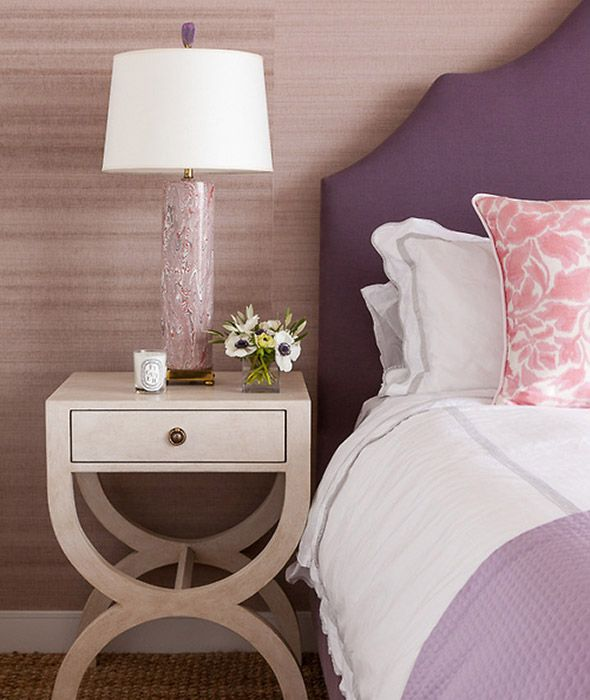 Purple And Pink Bedroom: Pink And Purple Bedroom Features A Wall Clad In Light