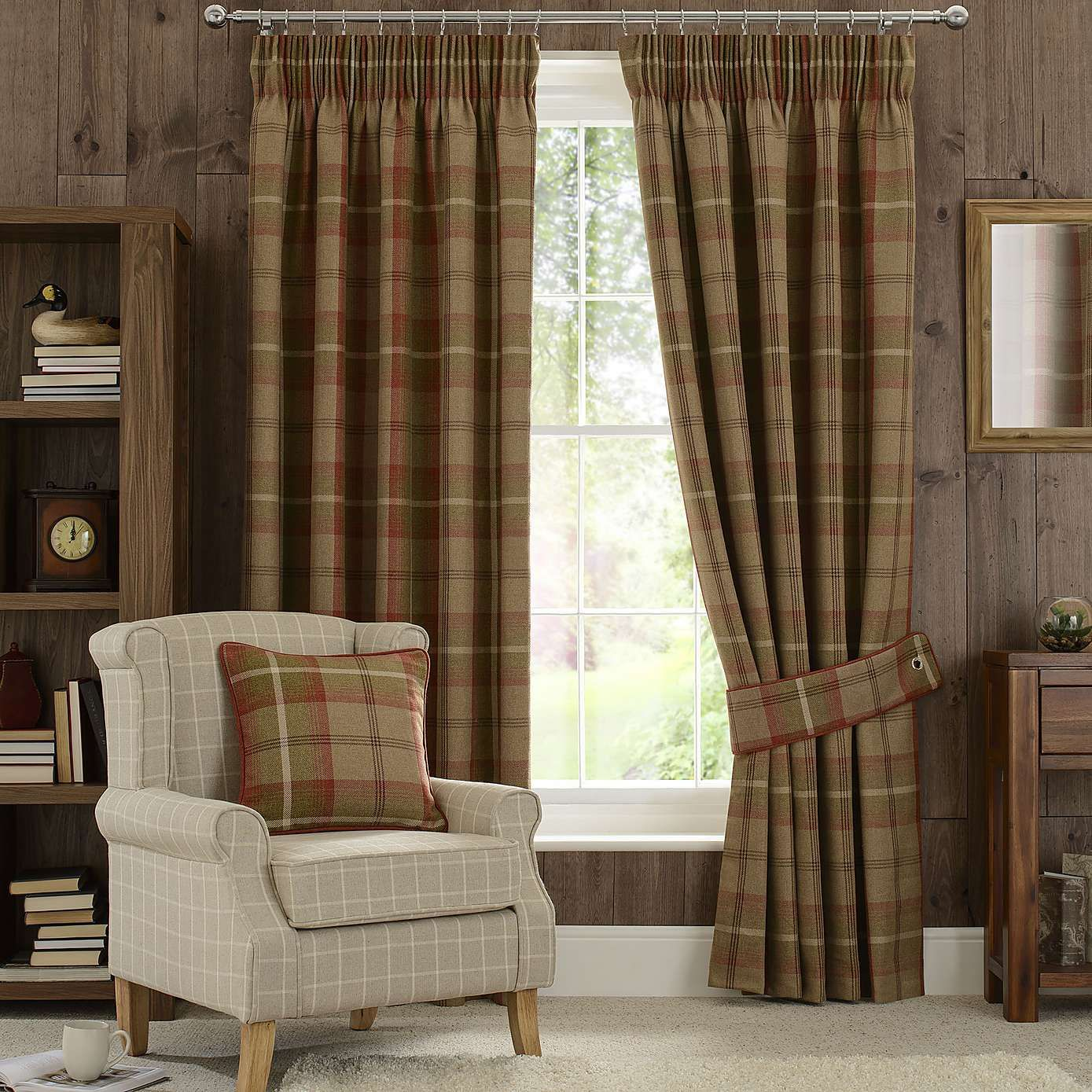Highland Check Rust Pencil Pleat Curtains Pleated