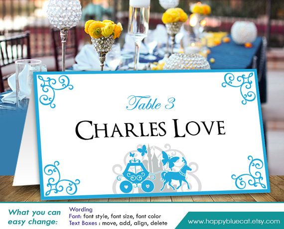 Reserved Listing From HappyBlueCat For Carol DiY Printable Wedding - Reserved place card template