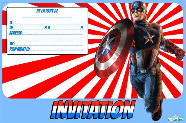 Carte invitation anniversaire capitaine america imprimer robocar poli party ideas - Carte anniversaire super heros ...