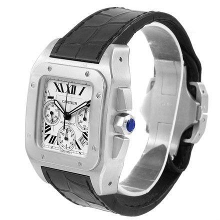 7b2e2b5de4c Cartier Cartier Santos 100 X-Large Silver Dial Chronograph Watch W20090X8