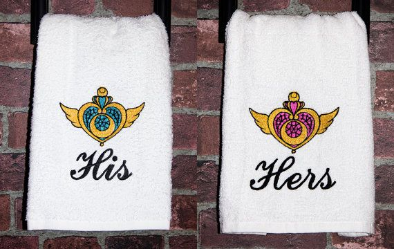 Geek Wedding Gifts: Sailor Moon Bathroom Personalized His Her Towels Manga