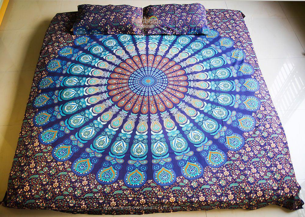 Mandala Turkis Tagesdecke Wandbehang Bettuberwurf Goa Deko