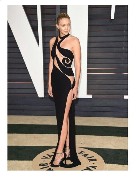 Gigi Hadid wearing an amazing black cut out Versace Dress at the Oscar's |  Glamour ☆ Night | Pinterest | Versace, Black and Teenager outfits