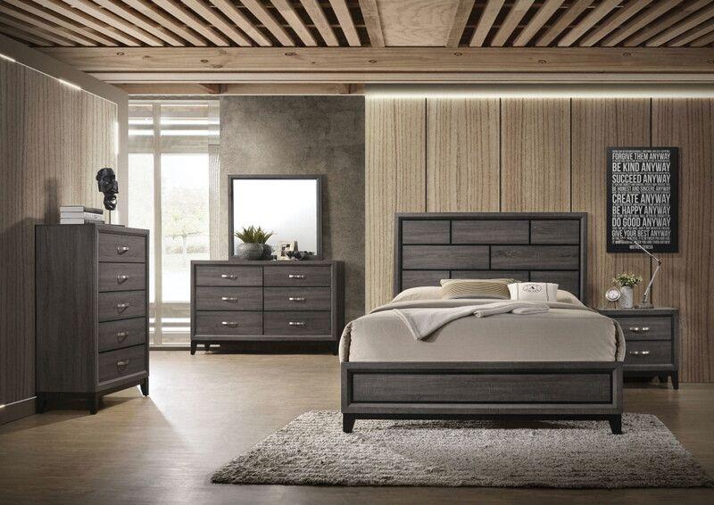 Acme 27050q 5 pc valdemar weathered gray grain finish wood