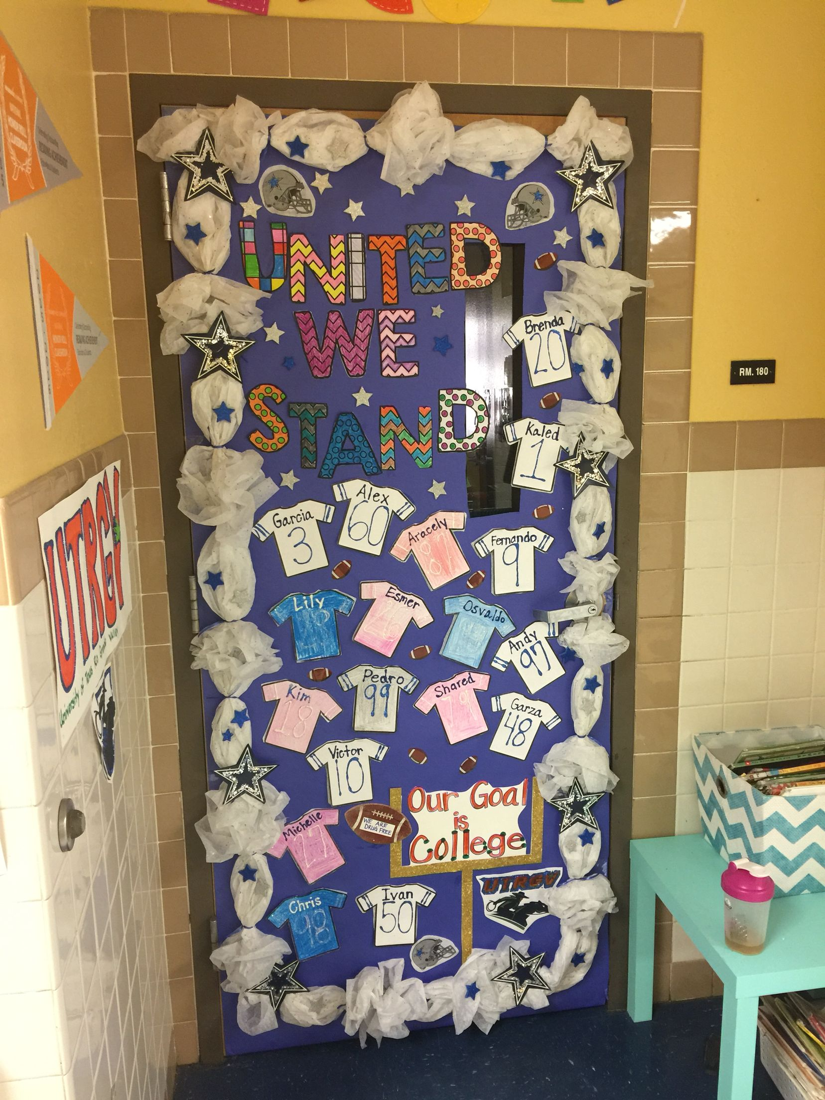 Dallas Cowboys Football Themed Classroom Door