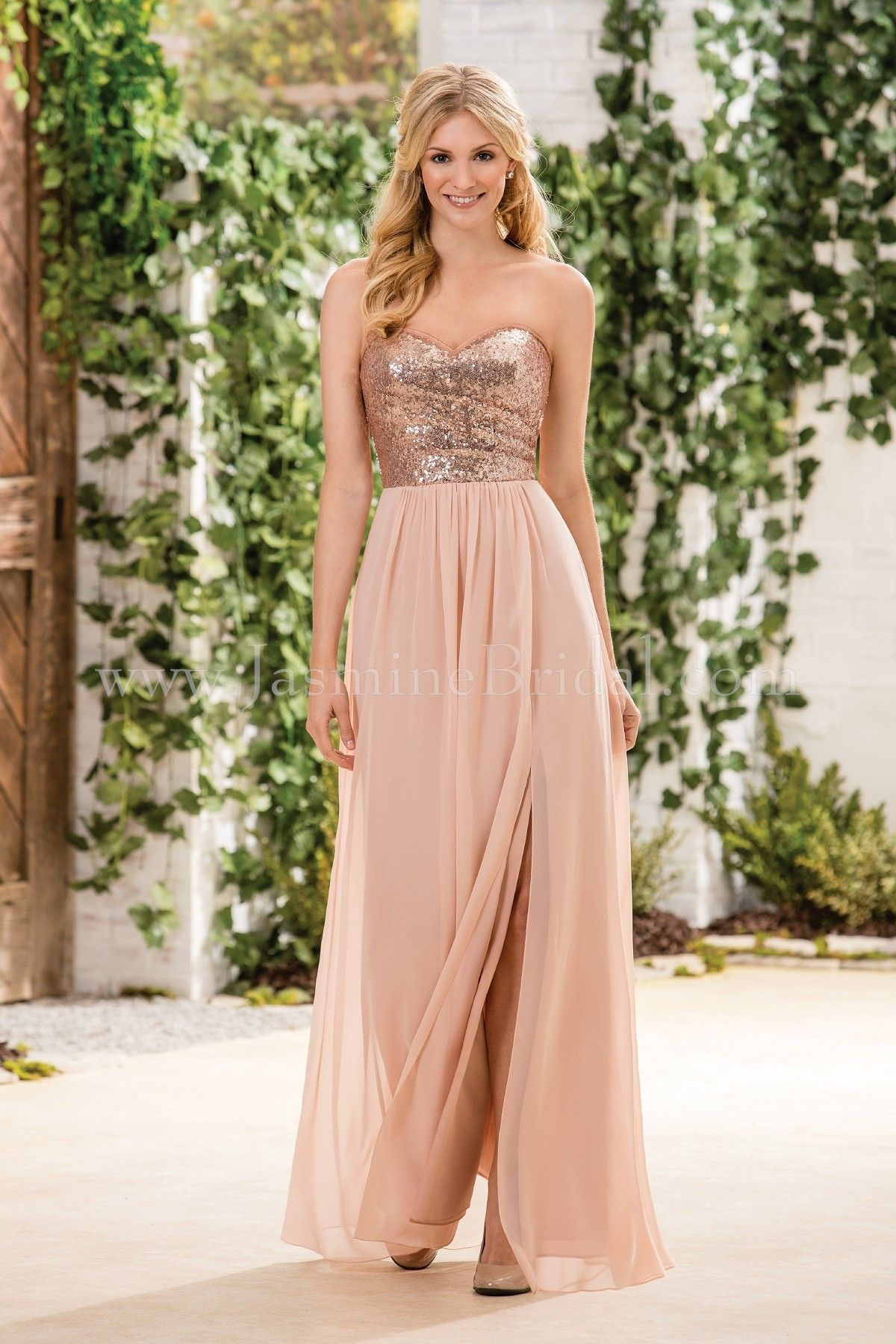 Jasmine bridal bridesmaid dress b2 style b183064 in rose for Gold bridesmaid dresses wedding