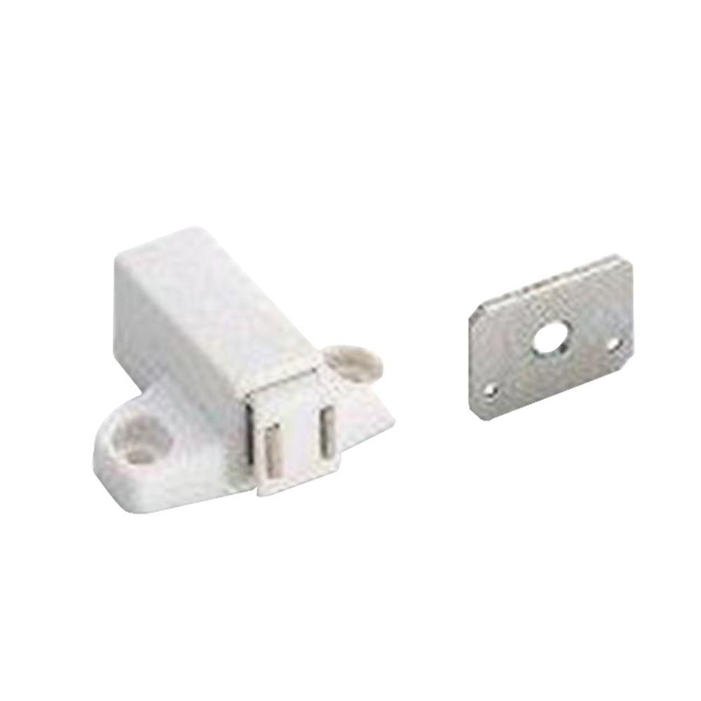 Amerock Magnetic Touch White Latch With Strike Home Depot