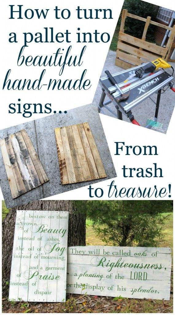 Ideas : How to make beautiful hand-painted signs from a pallet! #diy #pallet #gift