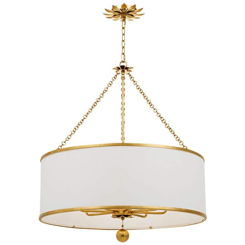 "Crystorama Broche 29"" Wide Antique Gold Drum Chandelier - #62Y84   Lamps  Plus in 2020   Antique silver chandelier, Drum chandelier, Drum shade  chandelier"
