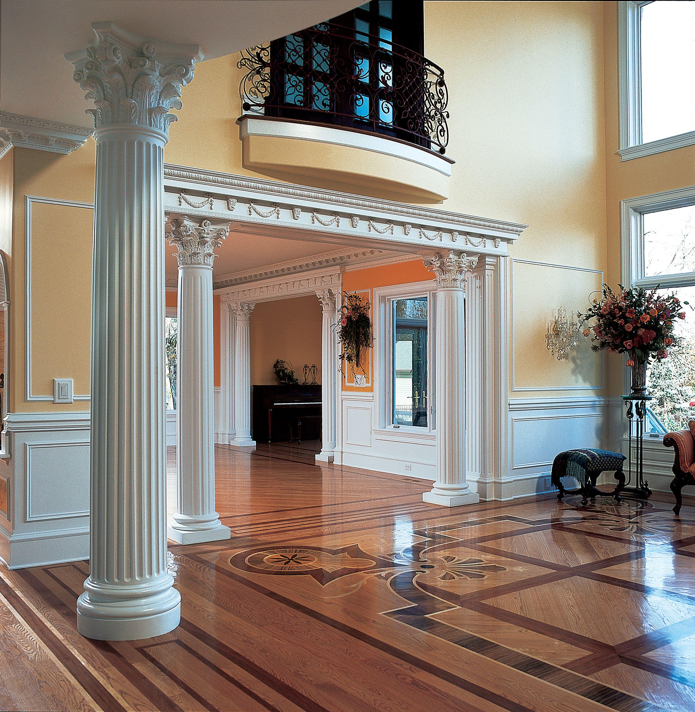 Fluted interior column with roman corinthian capital and - Decorative columns interior design ...