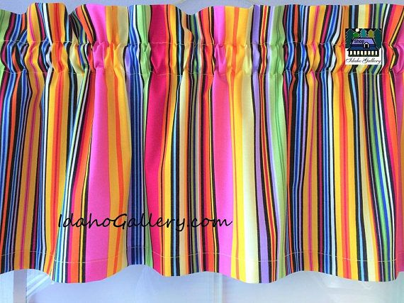 Colorful Valance Candy Ribbon Striped Curtain Rainbow