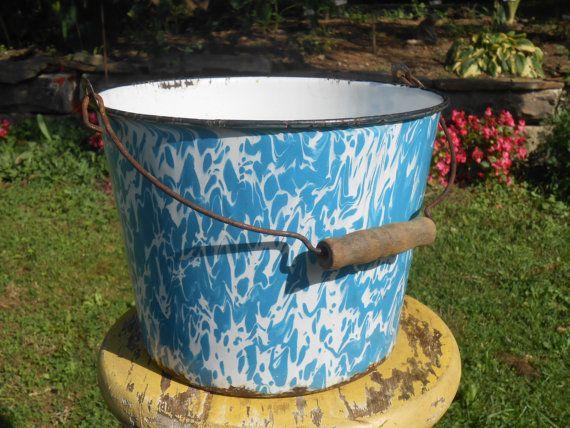 Antique Blue and White Graniteware Enamelware Bucket by Swansdowne, $38.00
