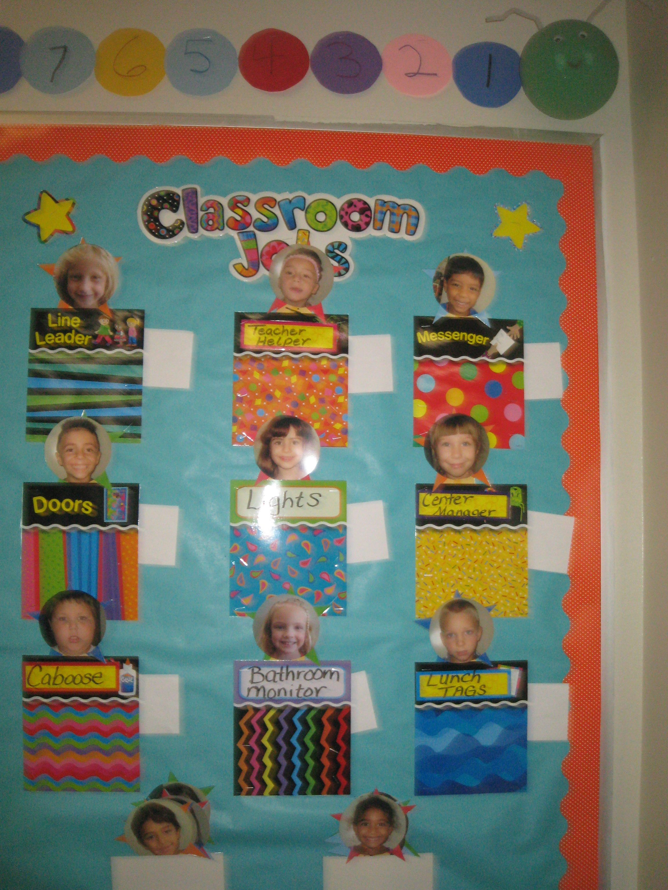 Classroom jobs using student pictures infant classroom