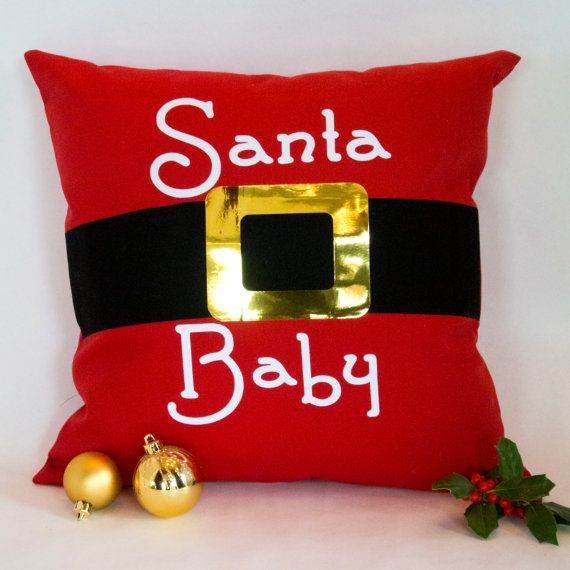 Santa S Belt Pillow Santa Baby On Red Cotton Canvas With Santa S Black Belt And Gold Metallic Foil Belt Buckle Christmas Pillow Santa Baby Santa Belts