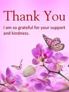 purple flower thank you card