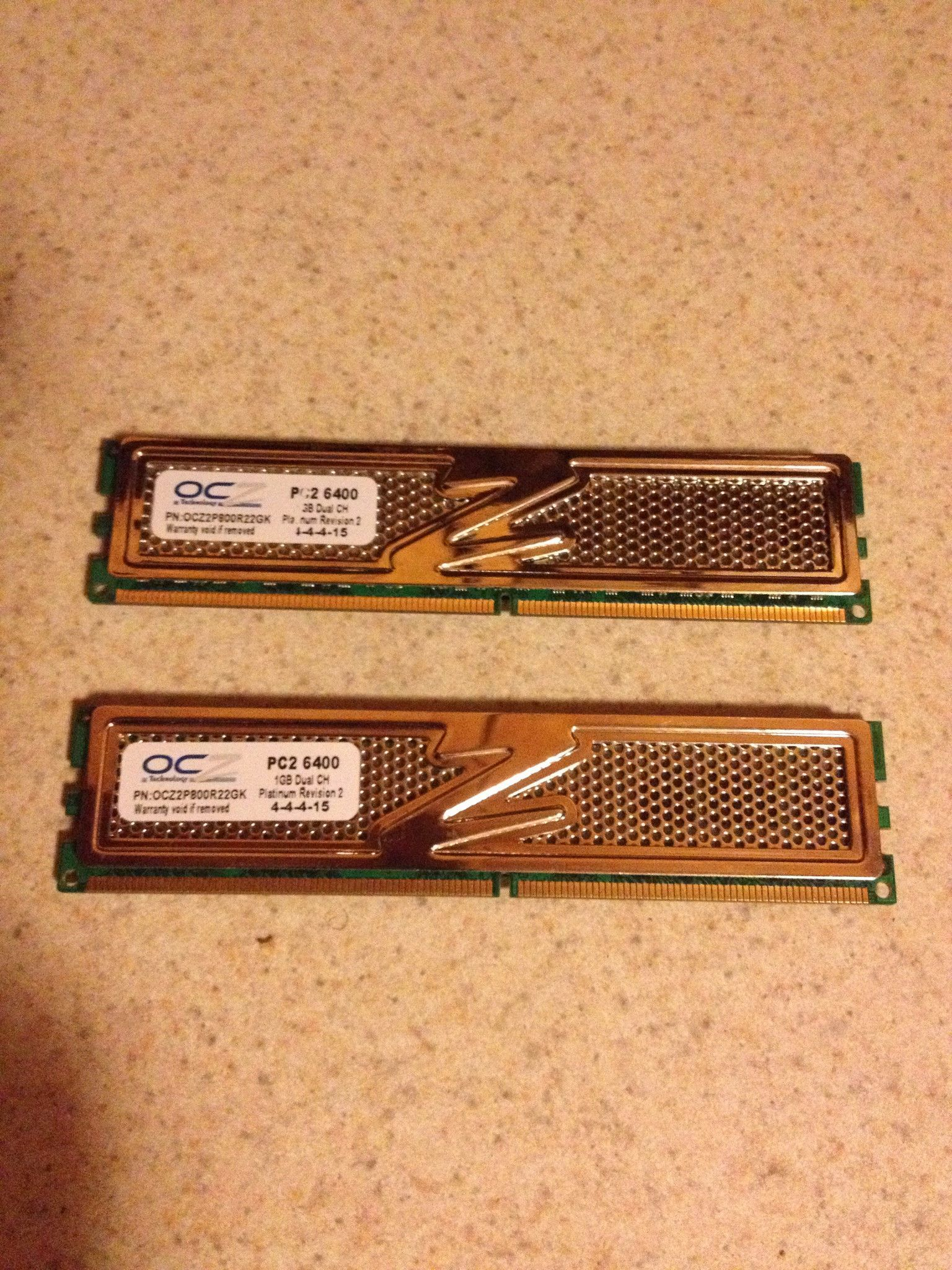 Memory 1GB Dual CH Platinum revision 2 4-4-15 PC2 6400 Set