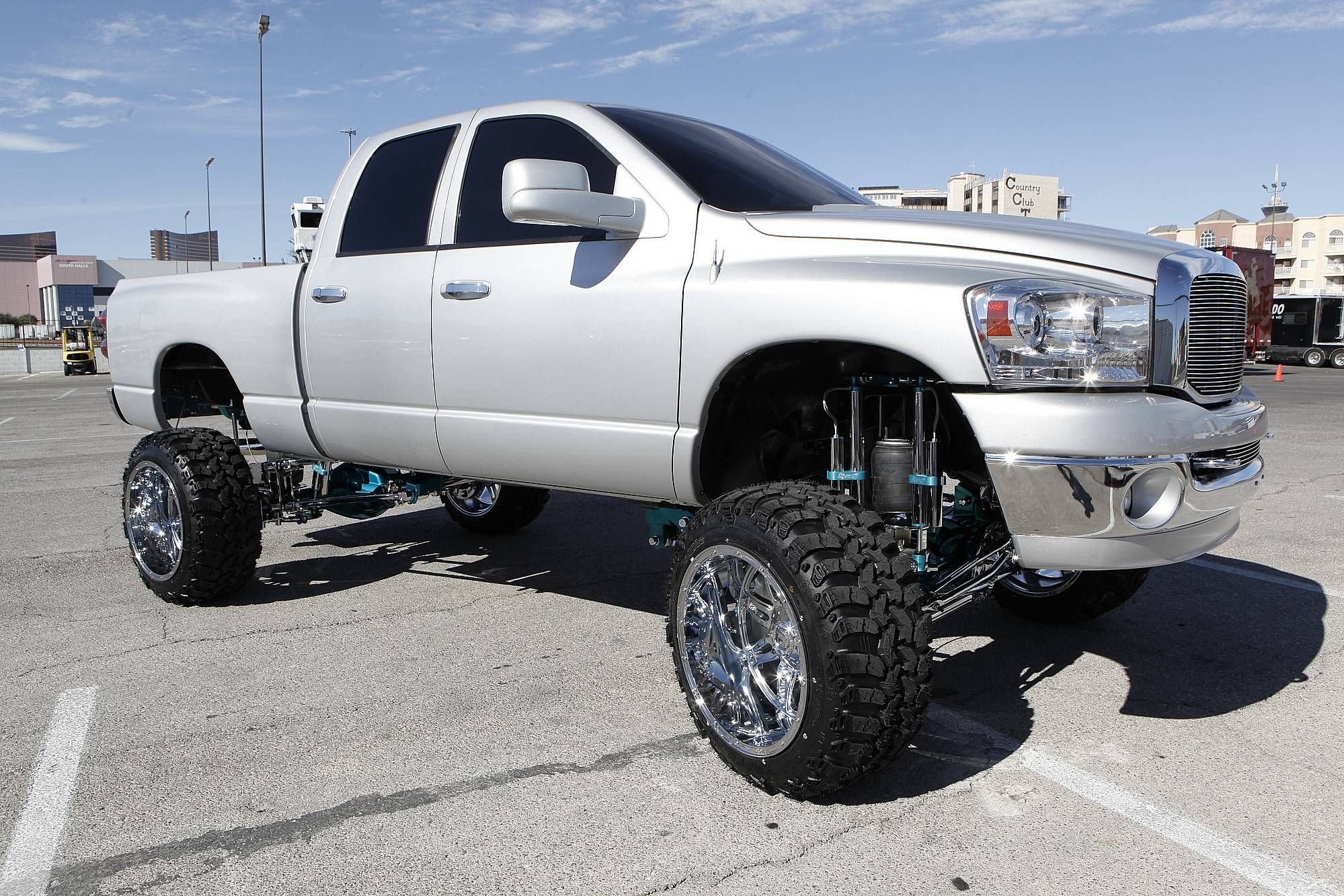 Lifted silver dodge ram 2500 truck