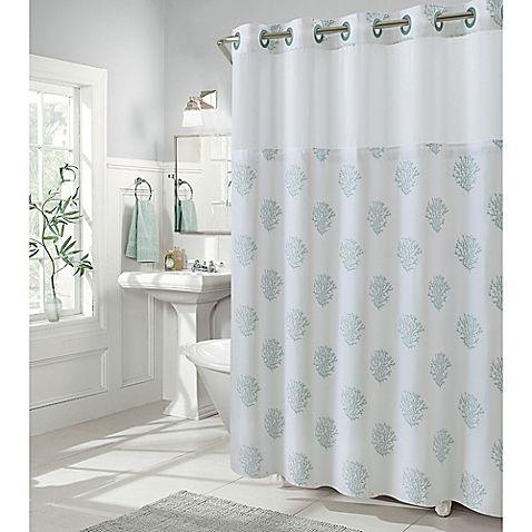 Hookless Coral Reef Shower Curtain In Grey Mist Hookless Shower