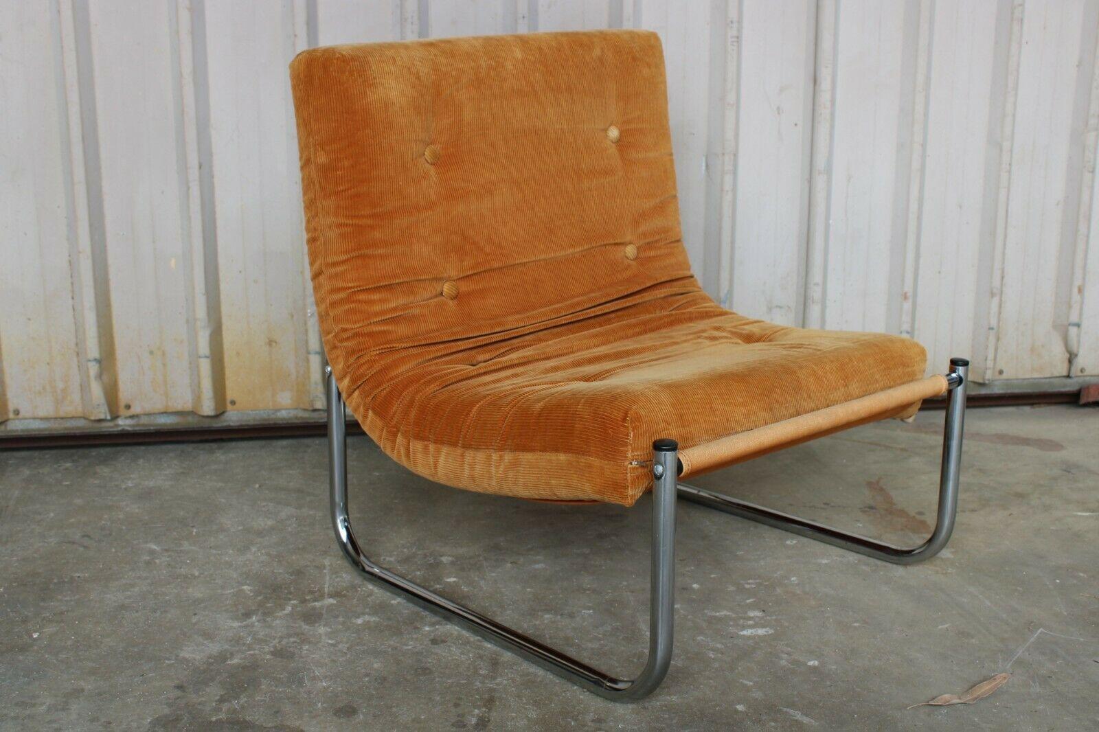 Vintage Retro Mid Century Sling Chair Arm Chrome Corduroy Orange