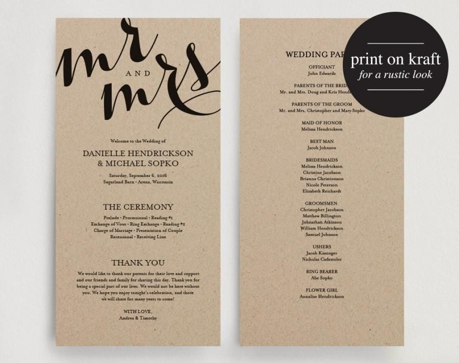 Wedding Program Printable Template