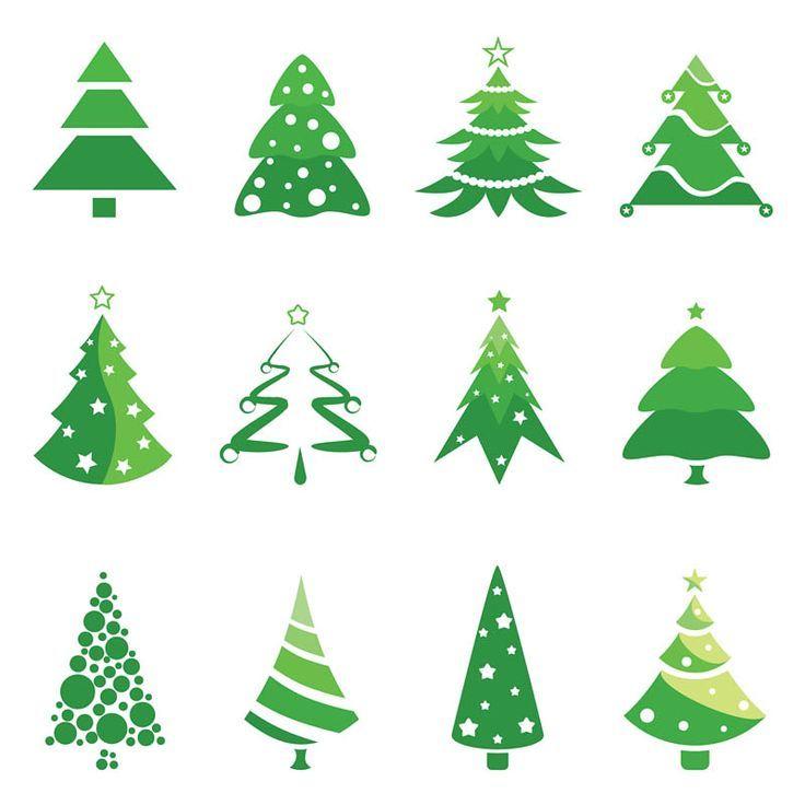 Christmas Tree Logos Vector Set Of 12 Green Vector Christmas Tree Logotype Templates For You Christmas Tree Logo Christmas Tree Design Christmas Tree Template