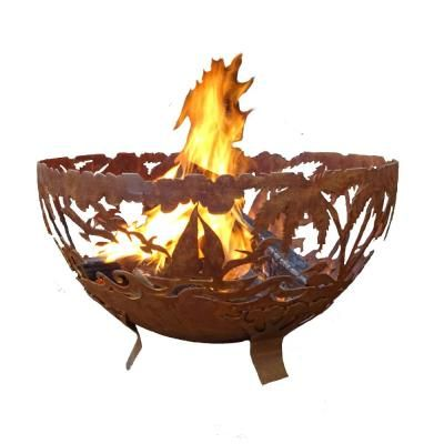 Esschert Design Tropical 32 In X 19 In Round Steel Wood Burning Fire Pit In Rust Ff1023 Wood Burning Fires Wood Burning Fire Pit Fire Pit Wayfair