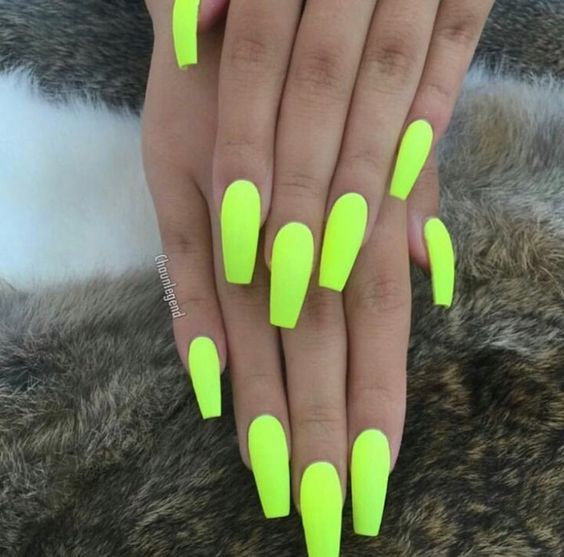 Have A Look At Our Coffin Acrylic Nail Ideas With Different Colors Trendy Coffin Nails Acrylic Nails Differen Neon Acrylic Nails Neon Nails Neon Nail Polish