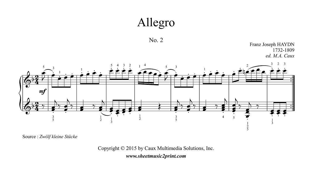 Franz Joseph Haydn 1732 1809 Allegro In F Major No 2 From