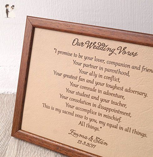 Leather Picture Wedding Vows Engraved On Real Leather 3rd Wedding
