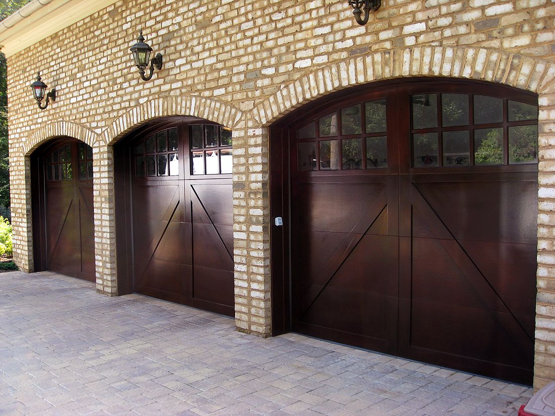 Mahogany Garage Doors Face Smooth Finish With No Tongue Or Groove A Overlay And Custom Arched Top True Divide Windows