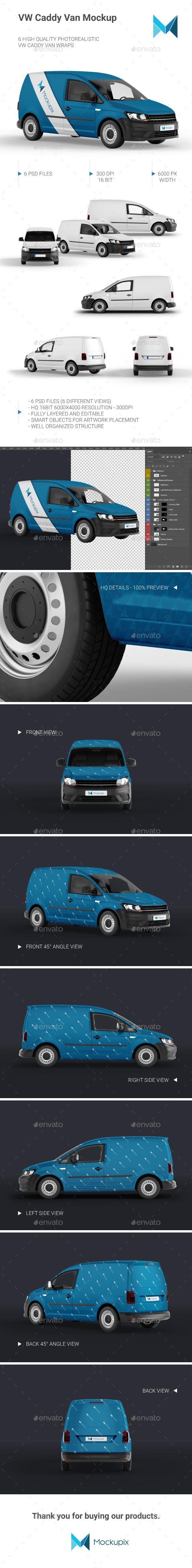 Vw Caddy Van Mockup Vehicle Wraps Print Download Link