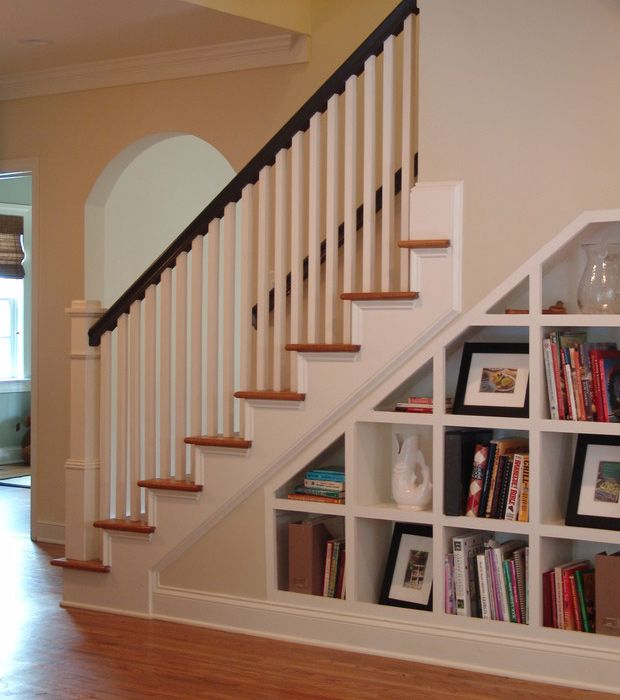 White Home Staircase Bookshelf Shelves Under Stairs Staircase