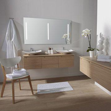Meuble De Salle De Bains Neo Imitation Chêne Leroy Merlin - Parquet teck salle de bain leroy merlin