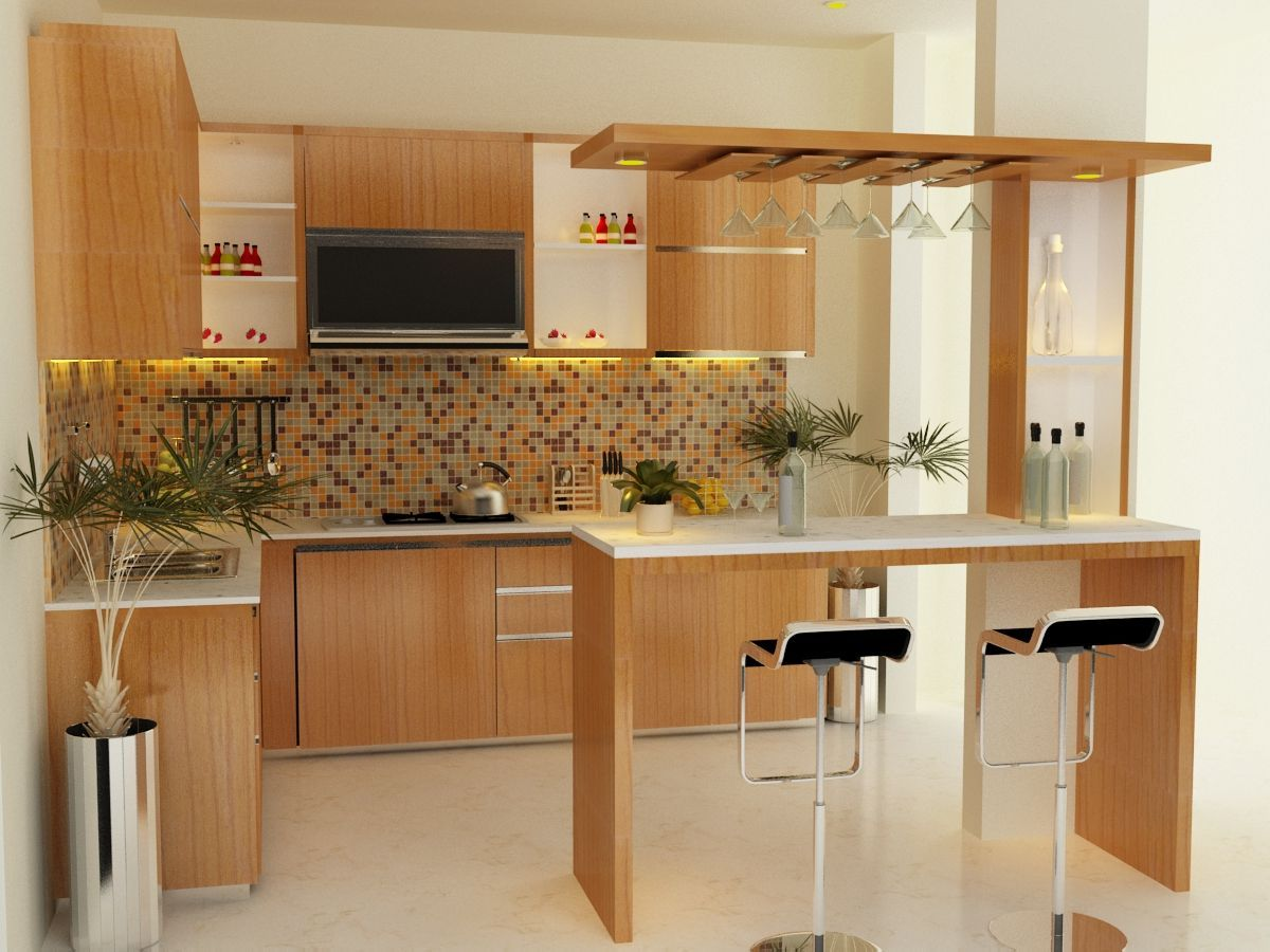 Kitchen , Feel Free To Choosing Nice Kitchen Bar Counter Design : Wooden  Style Kitchen Bar