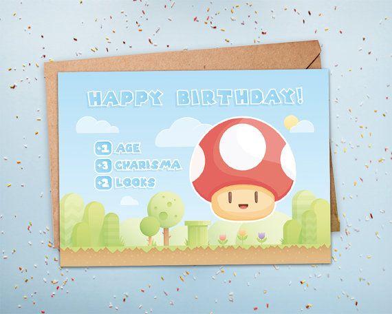 Gamer Birthday Card Geeky Birthday Card Nerdy Birthday Card Level