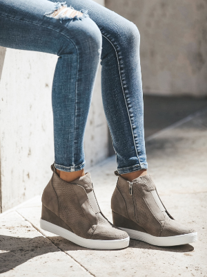 New In Town Faux Suede Wedge Sneaker