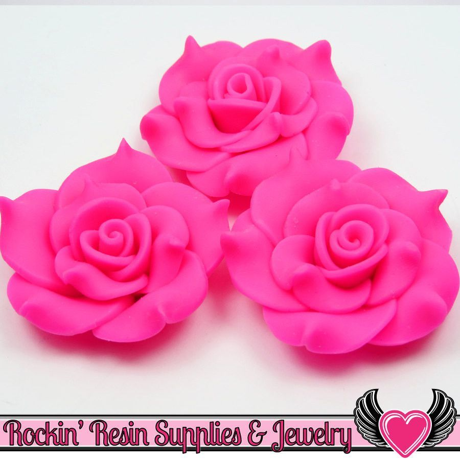 42mm Hot Pink Polymer Clay Rose Flatback Cabochons ( 3 pieces )