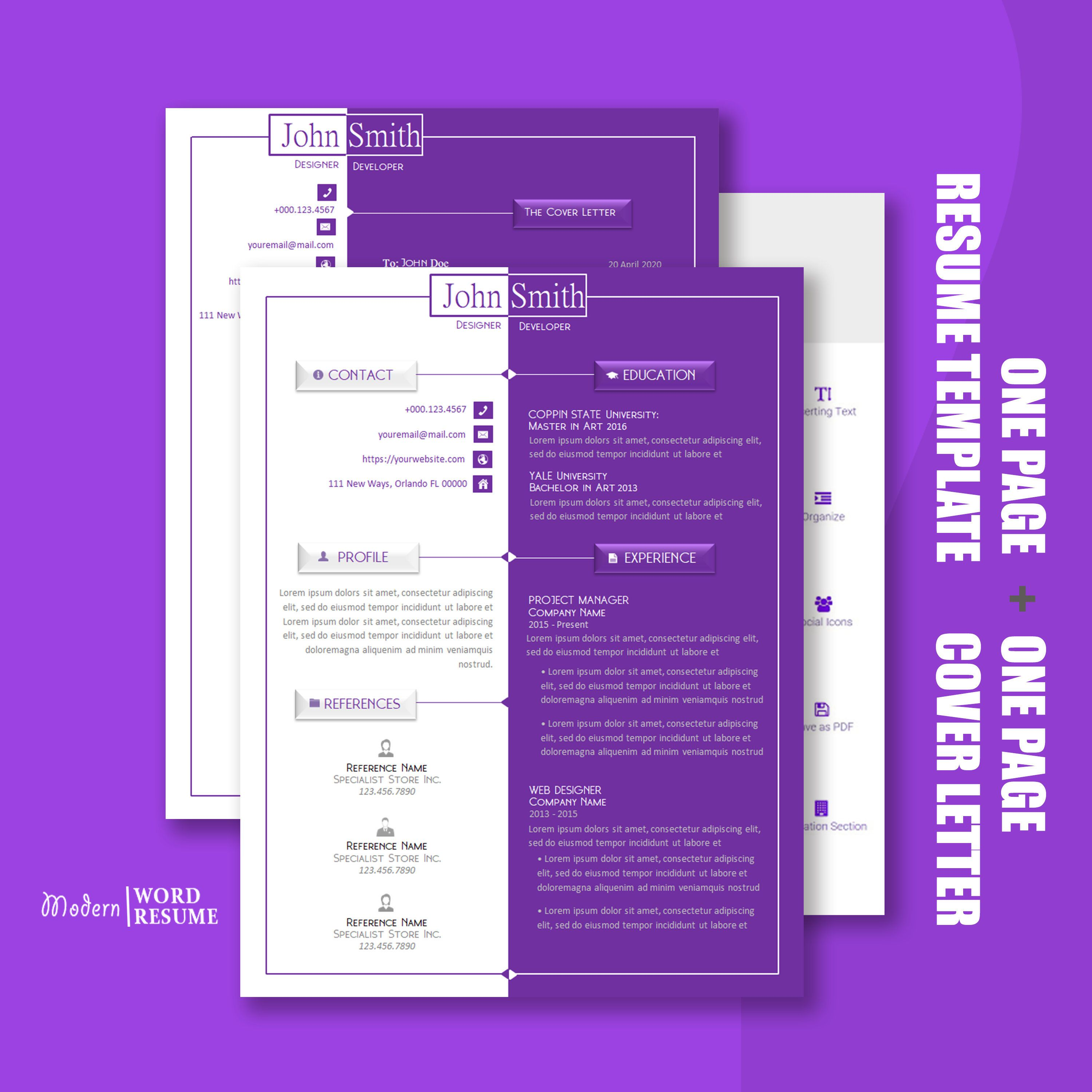 Purple Wave Resume Template 1 Page Resume/CV Template