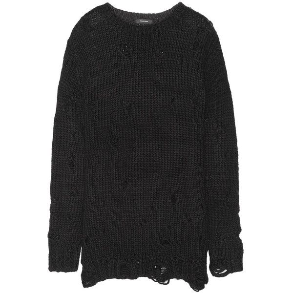 R13 Distressed knitted sweater (2.105 RON) ❤ liked on Polyvore featuring tops, sweaters, black, distressed top, ripped tops, loose tops, loose fitting sweaters and loose fitting tops