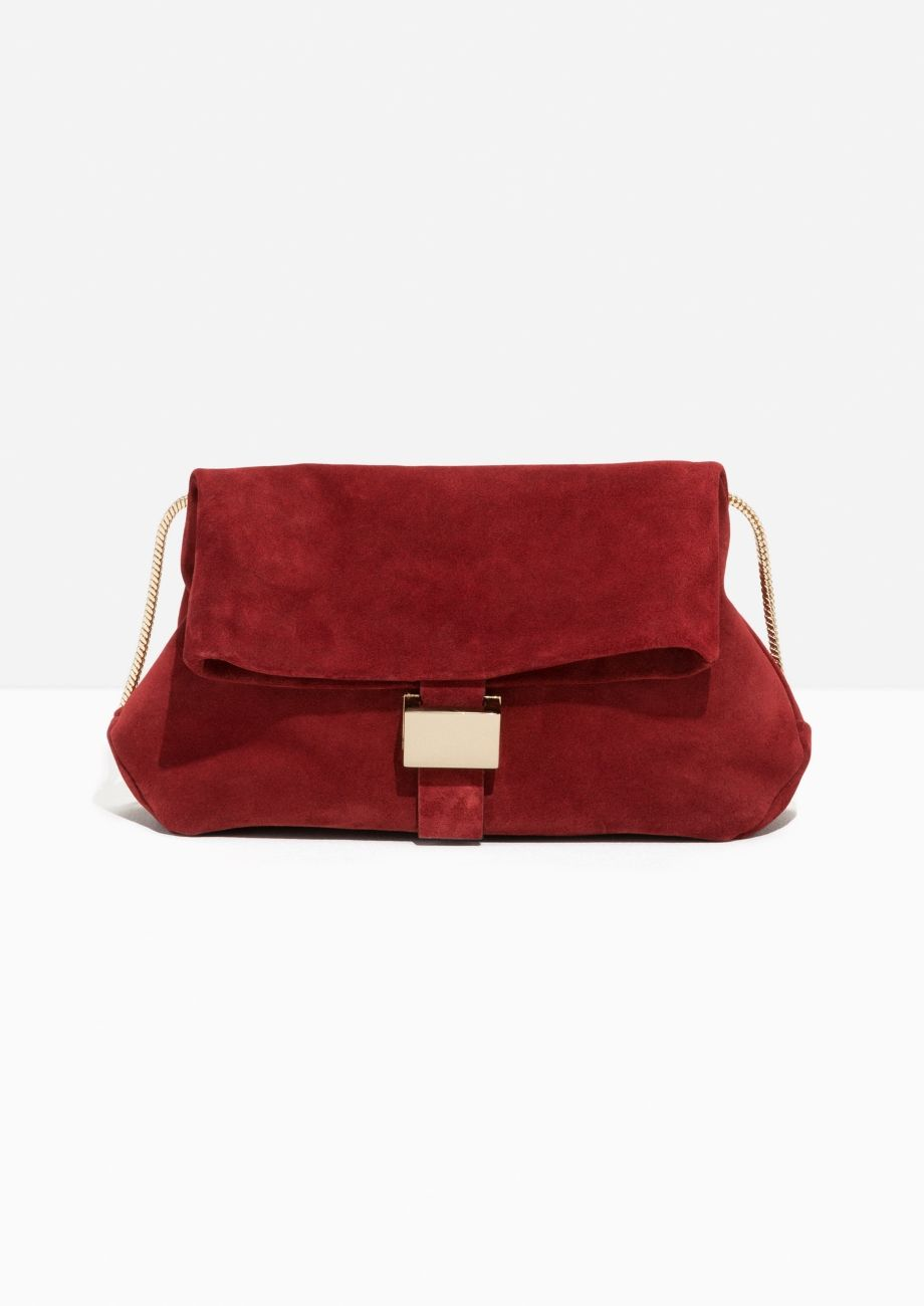 & Other Stories image 1 of Small Suede Fold-Over Bag in Red