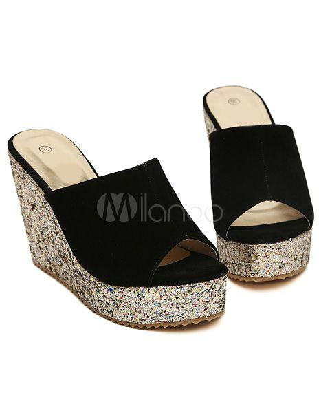 Sandales compensées noires en micro daim color-block avec paillettes-No.3