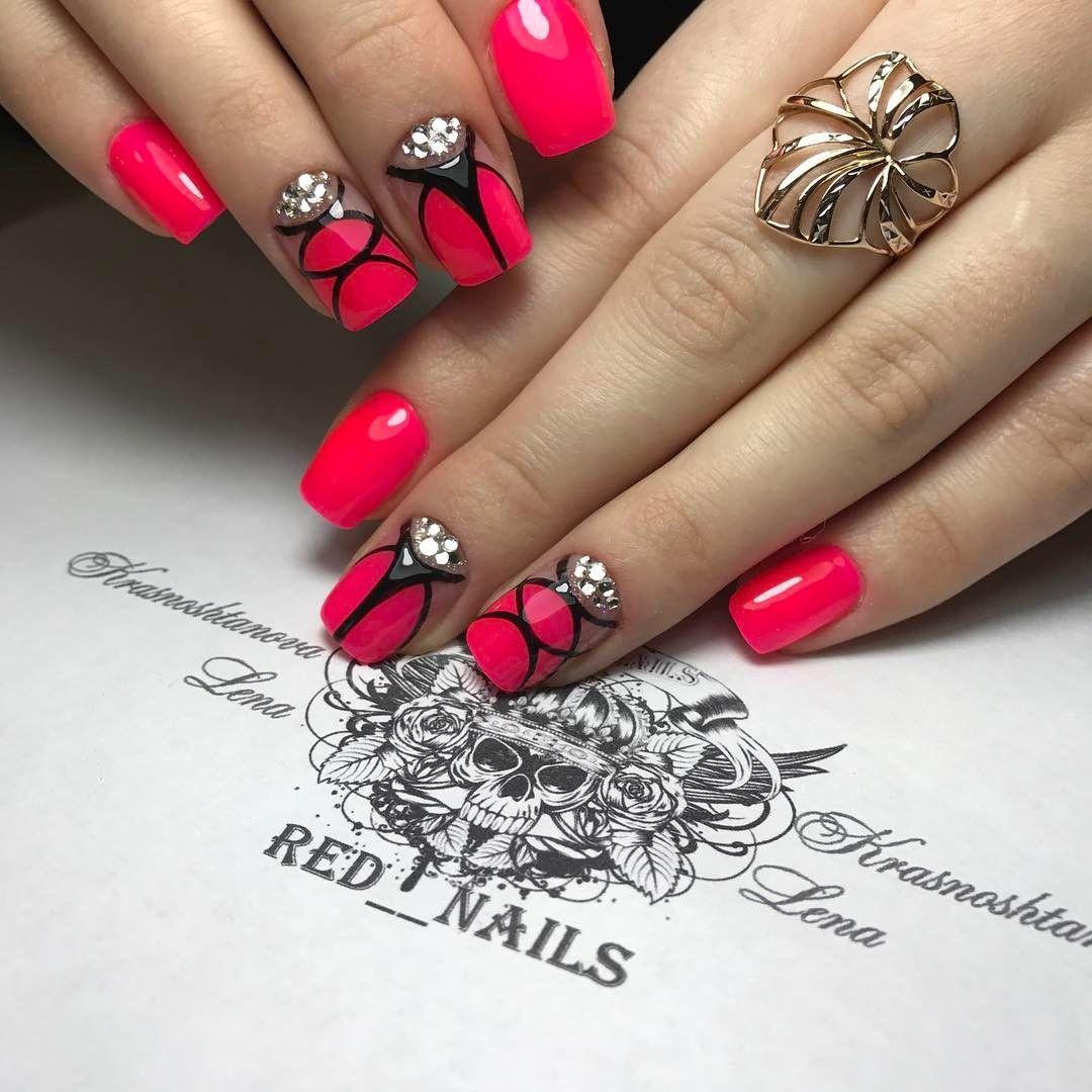 Gorgeous Winter Red Nail Art Designs | Red nails, Black nail polish ...