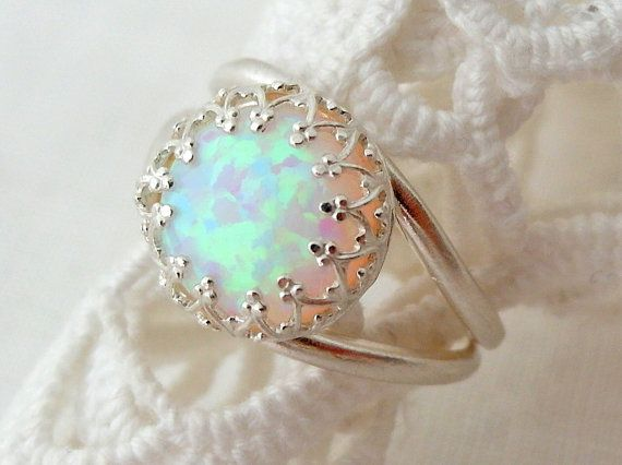 White opal ring Silver opal ring Gemstone ring by EldorTinaJewelry