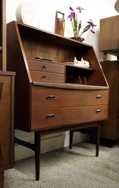 Danish Teak Secretary With Pullout Desk Top Mid Century Modern