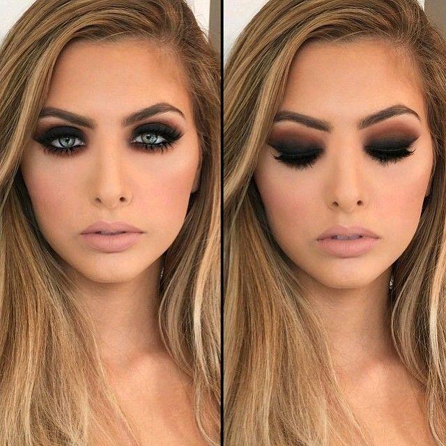 Maquillaje De Noche Con Ahumado Negro Y Marron Maquillaje - Maquillaje-negro