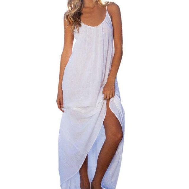Women Sexy White Dress 2017 Sleeveless Backless Deep O-Neck Beach Summer Dresses Long vestidos de verano #LSN
