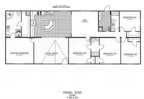 5 Bedroom Floor Plan: C-3205 | Hawks Homes | Manufactured ...